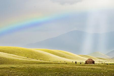 Yurta on Assy plateau Tien Shan Kazakhstan