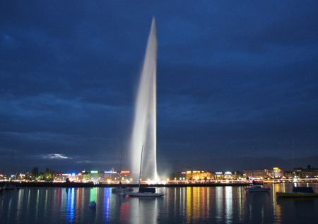 Lake Geneva Switzerland fountain