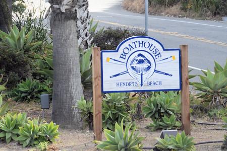 Boathouse at Hendry's Beach, Santa Barbara CA- Streetside Sign