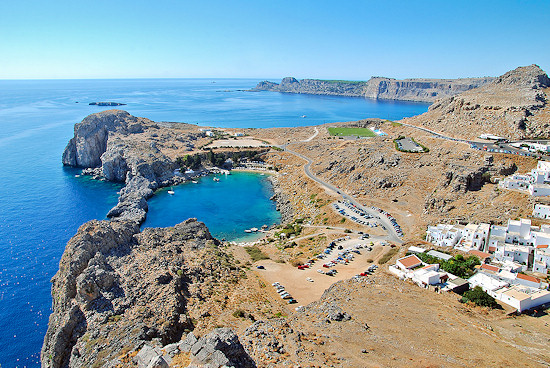 The view from the acropolis of St Pauls Bay, Rhodes Island, Greece