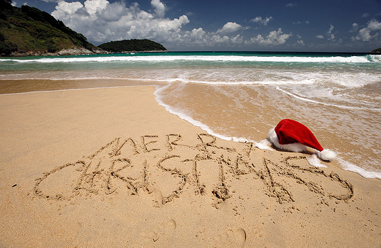 Tropical beach Christmas greetings