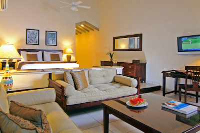 Premium beachfront room at Galley Bay Resort.