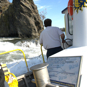 Boat tour on the Bay Of Fundy during tide change.