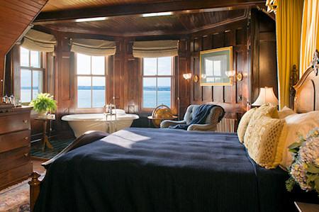The luxurious turret suite at the Inn overlooks Narragansett Bay.