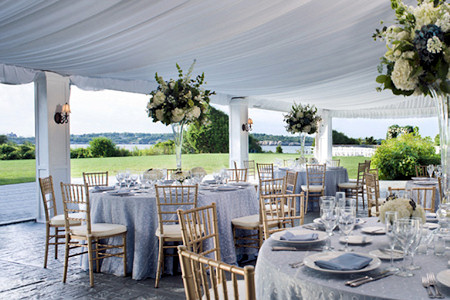 Wedding on the lawn overlooking the Bay at the Castle Hill Inn.