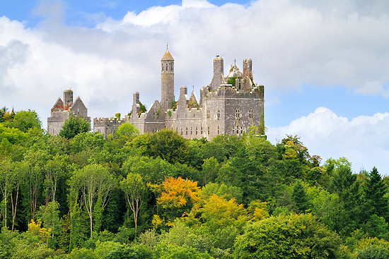 Dromore Castle on a hill in County Limerick, Ireland.