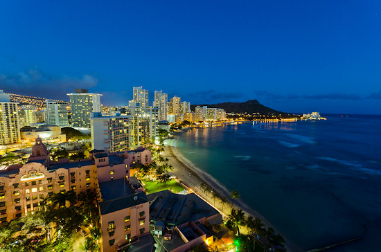 Hotels along Waikiki Beach with Diamond Head in the distance, Island Of Oahu, Hawaii