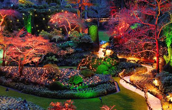 Christmas illuminations in Butchart Gardens, British Columbia Canada