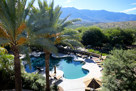 Pool and view at the Miraval Resort.