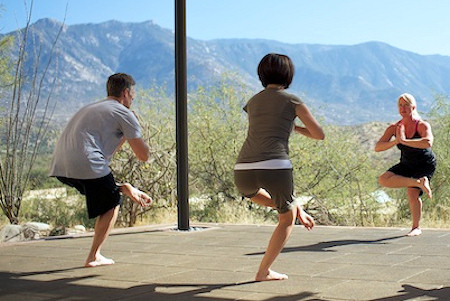 Yoga class with a view of the mountains surrounding Tuscon Arizona.