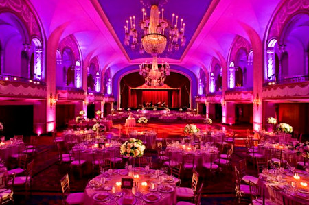 Ball room setup for a wedding reception.