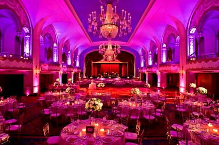 Ball room setup for a wedding reception.
