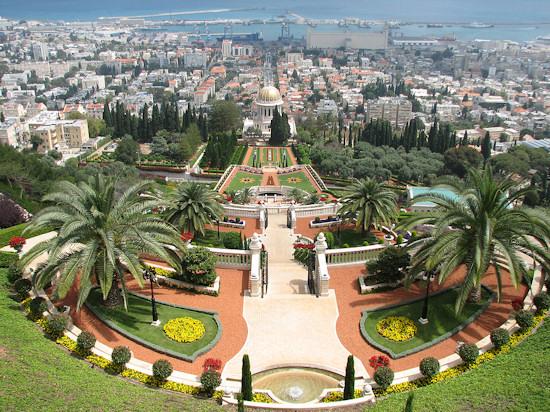Beautiful park of BahaisHaifa near the Mediterranean Sea