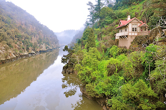 House clings to the side of Cataract Gorge in Tasmania.