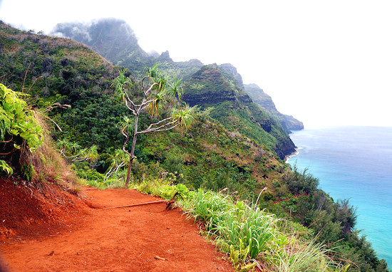 Kalalau hiking trail on the Hawaiian Island of Kauai