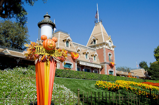 Halloween decorations at the entrance to Disneyland, California