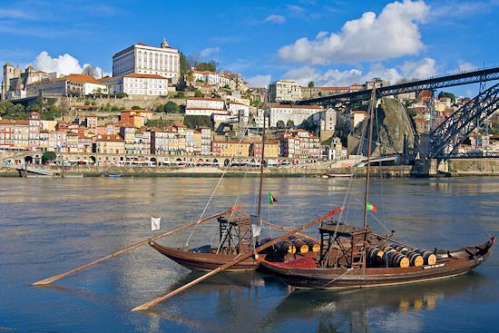 Wine boats in the Douro River in Portuguese city of Oporto.