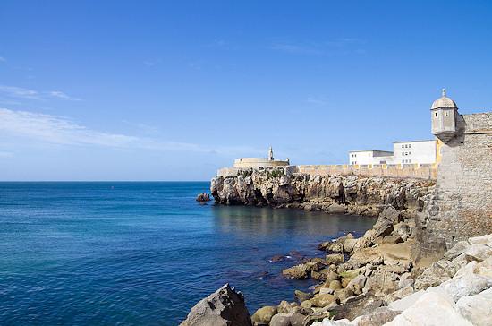 Ocean walls of Peniche Fort, Portugal