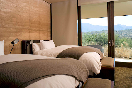 Miraval Catalina guestroom with desert view.