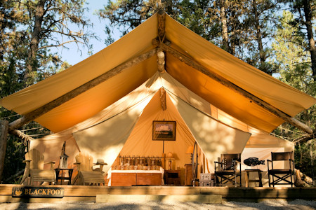 Luxury camping tent at Paws Up resort.