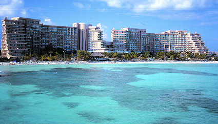 Ocean view of the resort and beach at Fiesta Americana Grand Coral, Cancun.