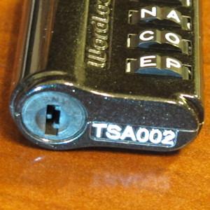View of TSA key slot on the bottom of the WordLock lock.