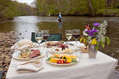 Table setup at river side.
