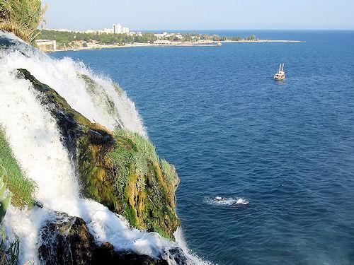 Ocean waterfall In Antalya, Turkey