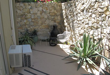 Patio of room #105 at The Chase Hotel