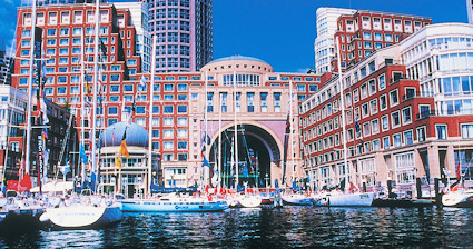 View from the water of the Boston Harbor Hotel.