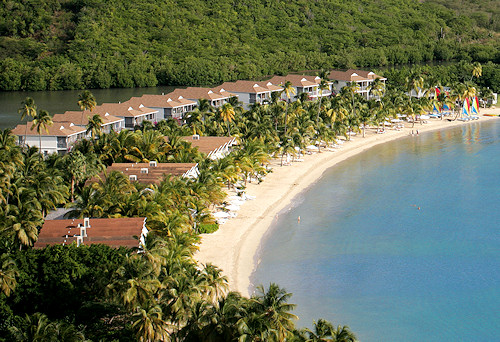Carlisle Bay Beach Resort, Antigua. Aerial view.