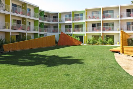 Lawn area near pool