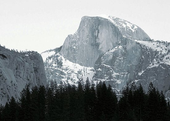 Half Dome in Yosemite California in Winter