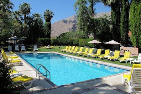 Beautiful Pool at Ingleside Inn, mountains of Palm Springs in background.