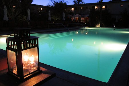 Colony pool after dark