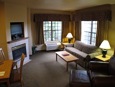 Sitting area of suite with fireplace, TV and sofabed.
