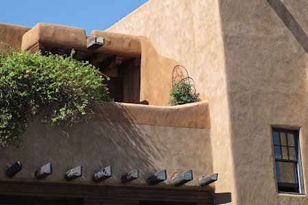 Santa Fe style exterior of the Hotel