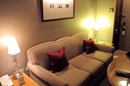 Sofa bed in suite #506.