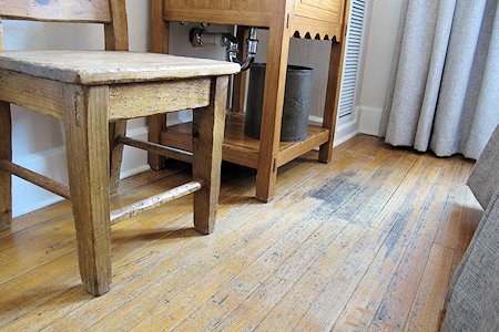 Old fashioned floors add a cool authentic feel.