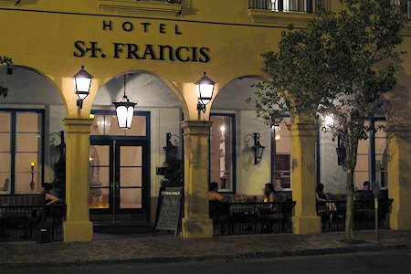Front entrance of Hotel St. Francis in the evening.
