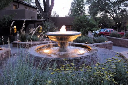 Beautiful fountain at La Posada of Santa Fe