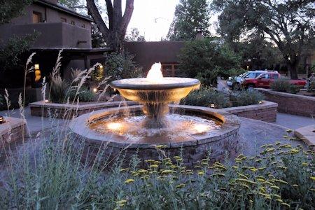 Beautiful fountain at La Posada of Santa Fe