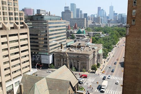 One of three views of Toronto from the top floor suite at the Park Hyatt Hotel