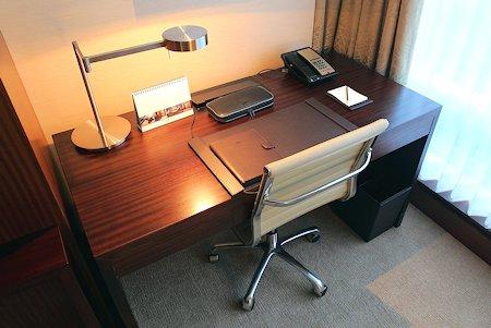 Desk in living room area