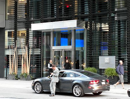 Entrance of the Hotel Le Germain at Maple Leaf Square in Toronto, Ontario Canada.