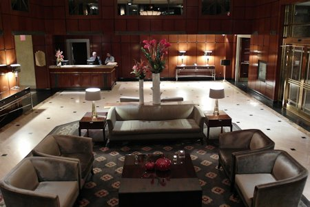 Elegant lobby of the Park Hyatt Toronto