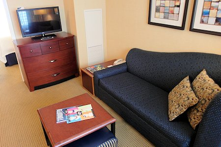 Living Room area of 1 bedroom suite at Residence Inn Downtown Toronto