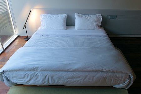 Bed, low to floor, guest room 5.1, Templar Hotel
