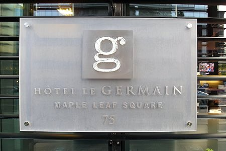 Sign of the Hotel Le Germain Maple Leaf Square.