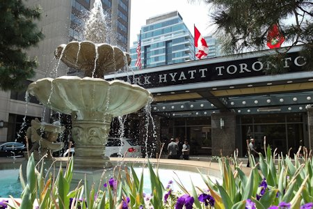 Hotel's fountain in front of the Park Hyatt Toronto